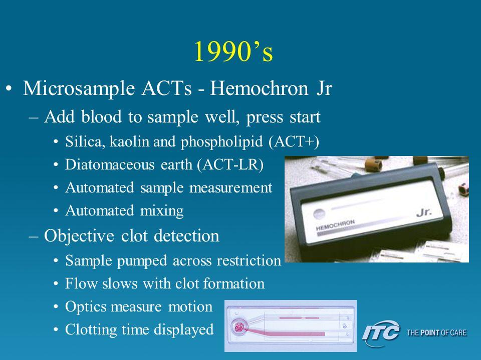 1990's Microsample ACTs - Hemochron Jr