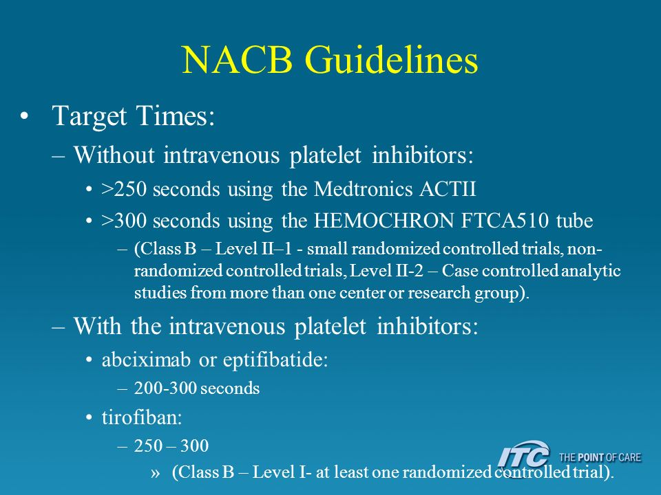 NACB Guidelines Target Times: Without intravenous platelet inhibitors: