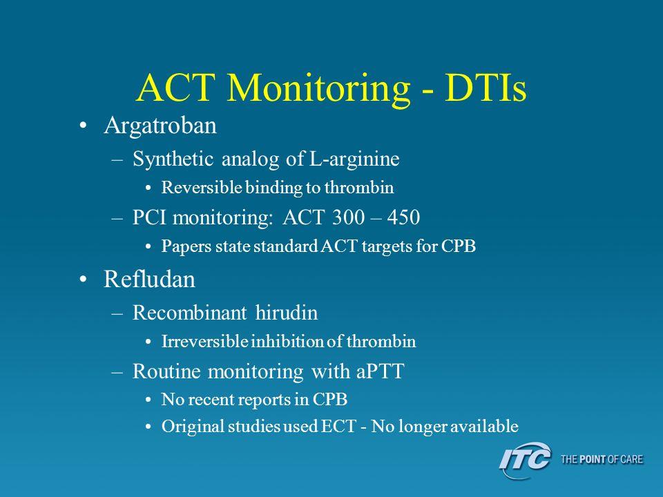 ACT Monitoring - DTIs Argatroban Refludan