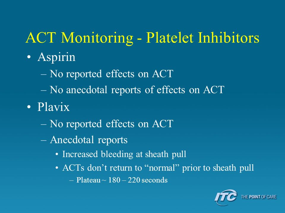 ACT Monitoring - Platelet Inhibitors