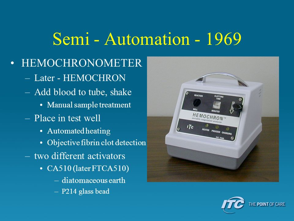 Semi - Automation - 1969 HEMOCHRONOMETER Later - HEMOCHRON