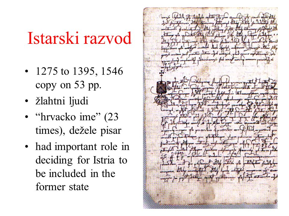 Istarski razvod 1275 to 1395, 1546 copy on 53 pp. žlahtni ljudi