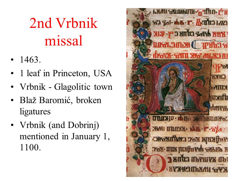 2nd Vrbnik missal 1463. 1 leaf in Princeton, USA
