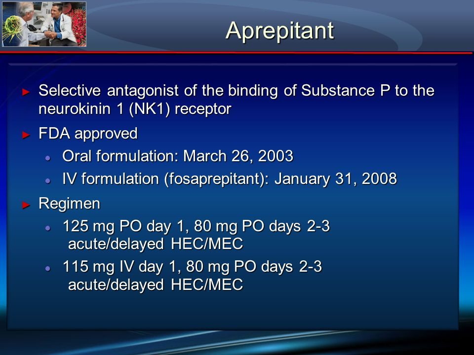 Aprepitant Selective antagonist of the binding of Substance P to the neurokinin 1 (NK1) receptor. FDA approved.