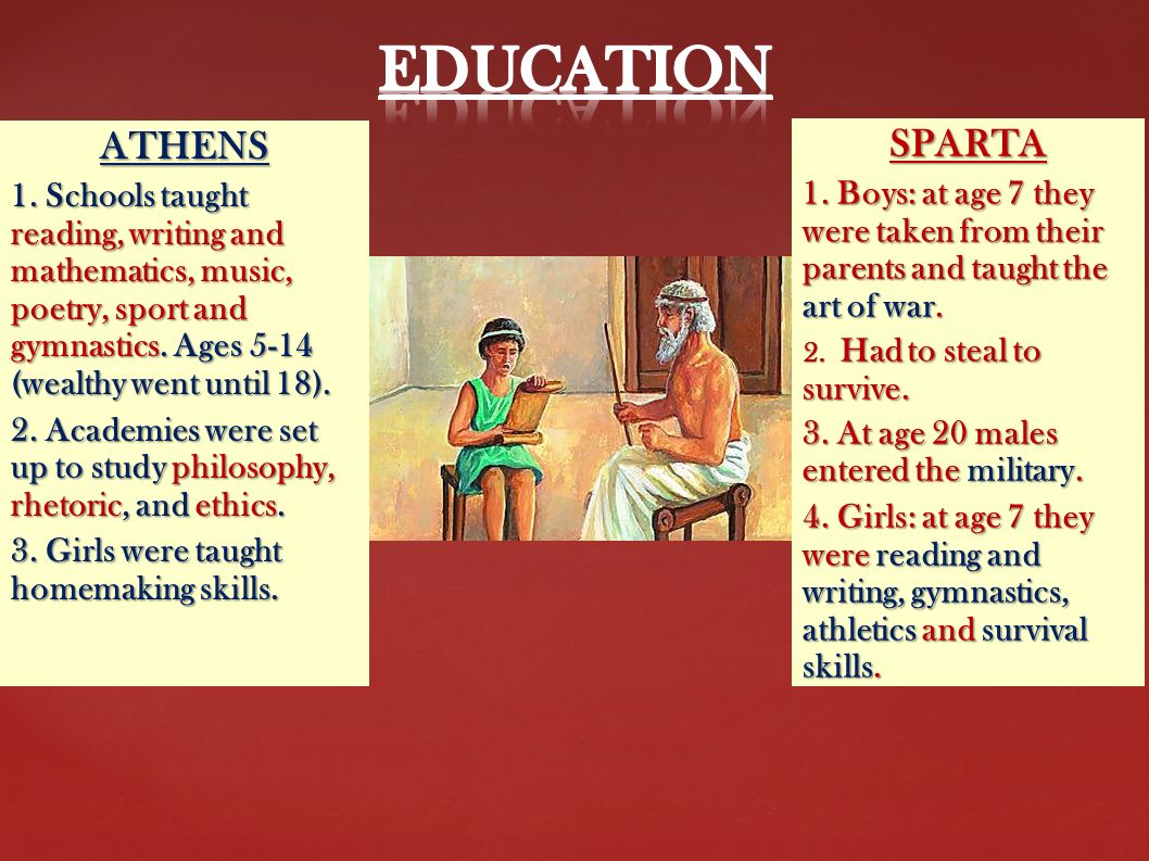 a study of athens and sparta Lesson 5: athens vs sparta  because the overarching principle in this lesson is not the study of sparta or athens, but how natio should focus their development.