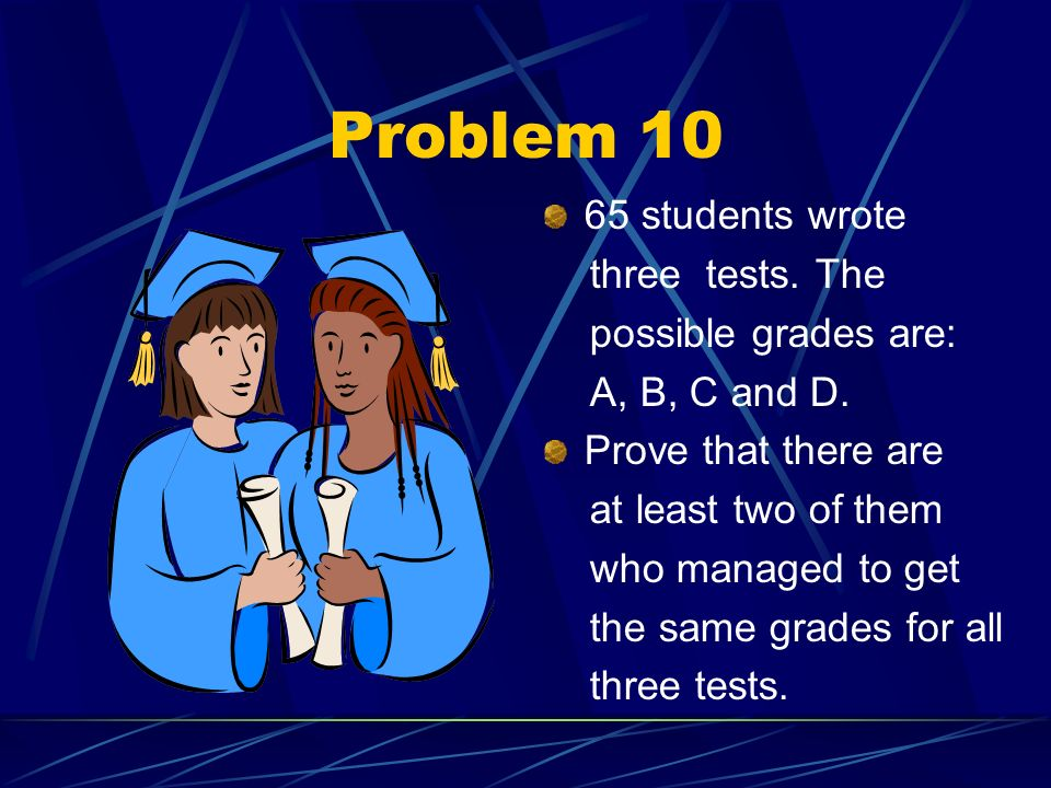 Problem 10 65 students wrote three tests. The possible grades are: