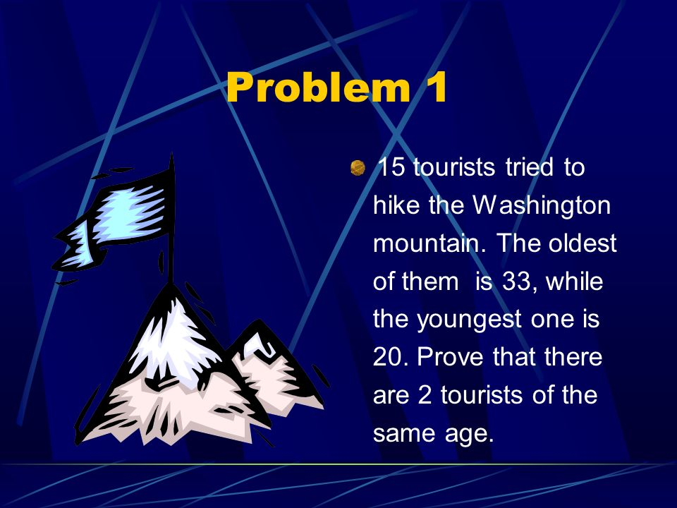 Problem 1 15 tourists tried to hike the Washington