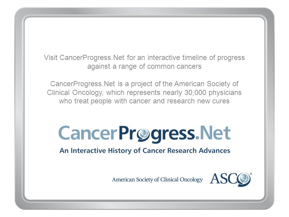 Visit CancerProgress.Net for an interactive timeline of progress against a range of common cancers