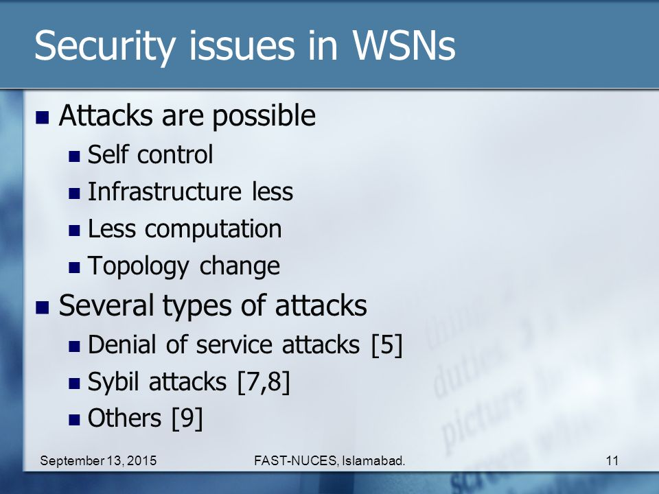 Security issues in WSNs