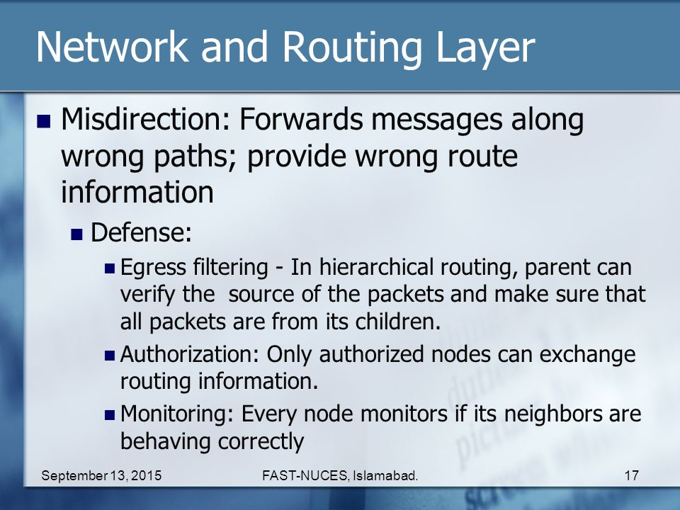 Network and Routing Layer