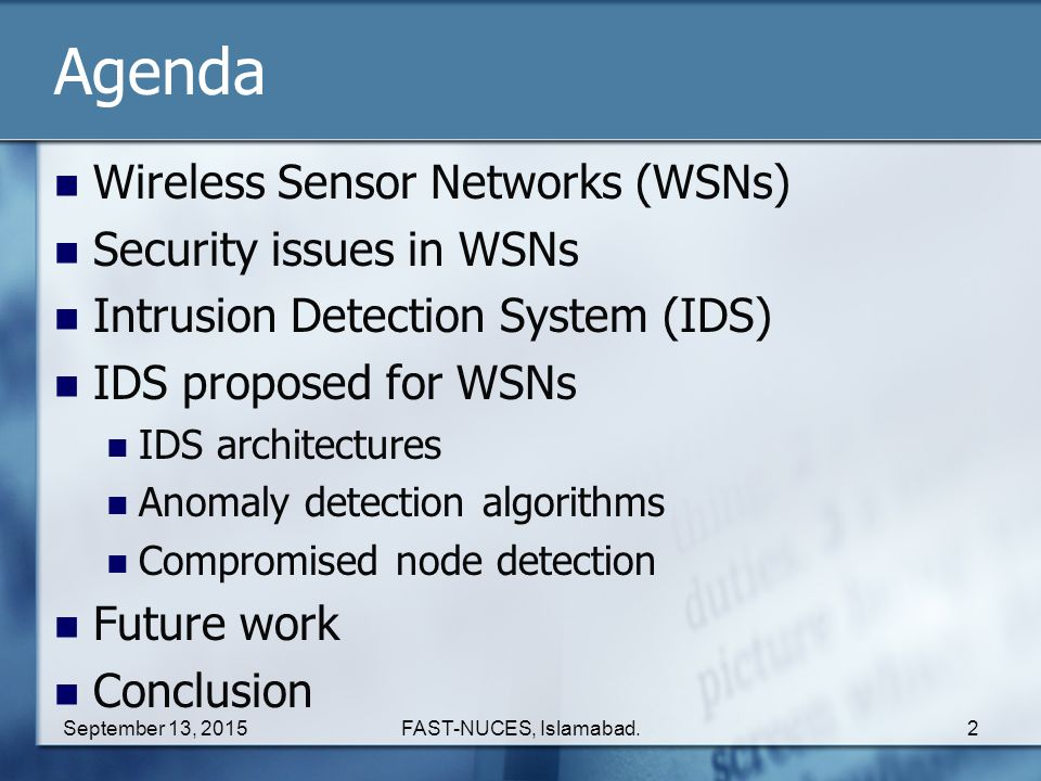 Agenda Wireless Sensor Networks (WSNs) Security issues in WSNs