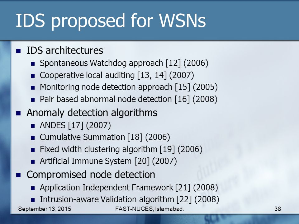IDS proposed for WSNs IDS architectures Anomaly detection algorithms