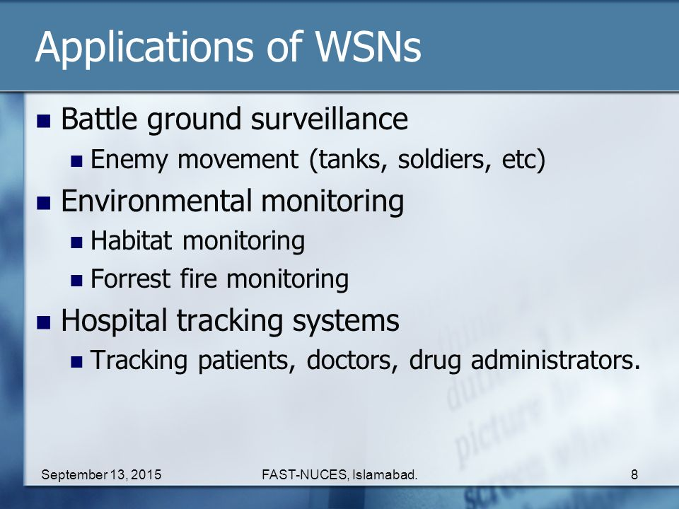 Applications of WSNs Battle ground surveillance