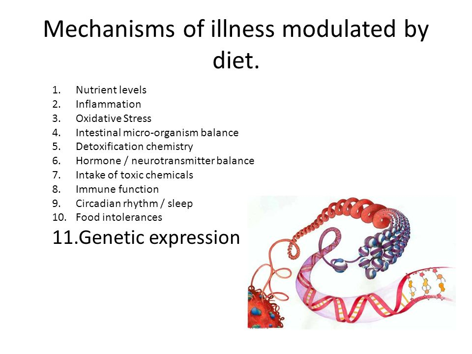 Mechanisms of illness modulated by diet.
