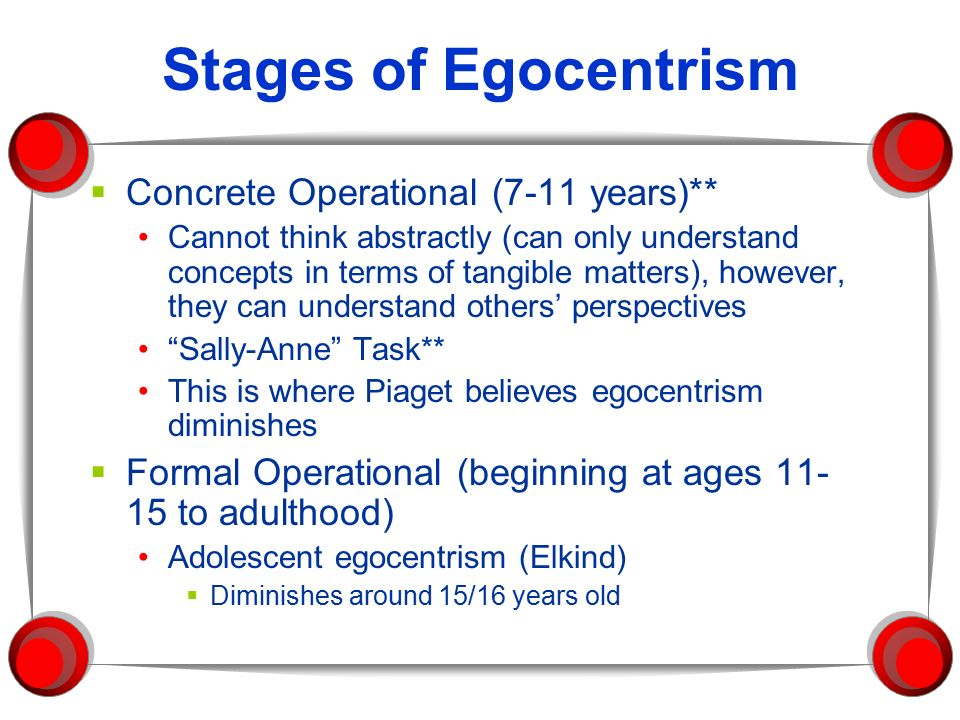 egocentrism in young children Preschoolers' egocentrism it is the nature of young children to be egocentric in their thinking to say that preschoolers' thinking is egocentric simply means that.