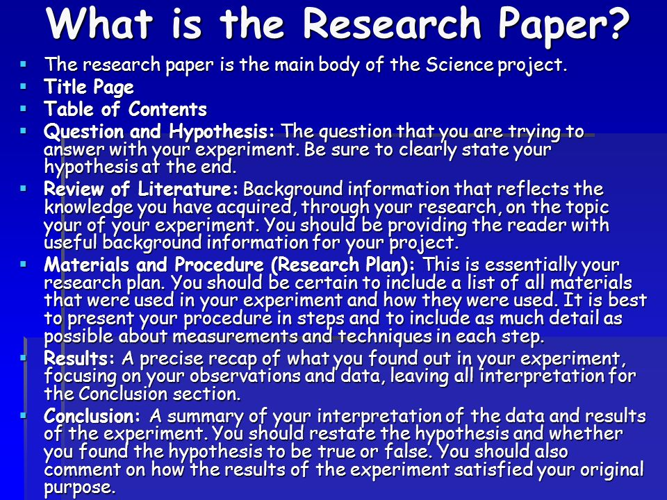 science fair outlines research paper outlines
