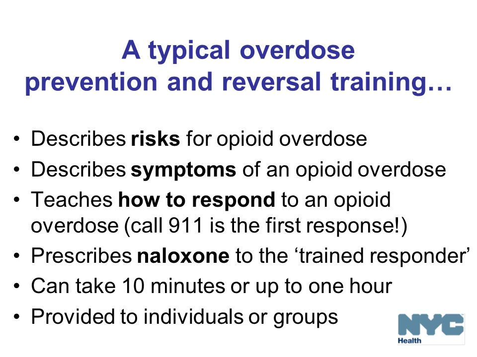A typical overdose prevention and reversal training…