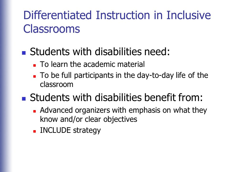 differentiated instruction for students with disabilities