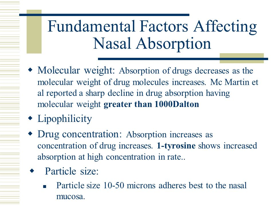 Fundamental Factors Affecting Nasal Absorption
