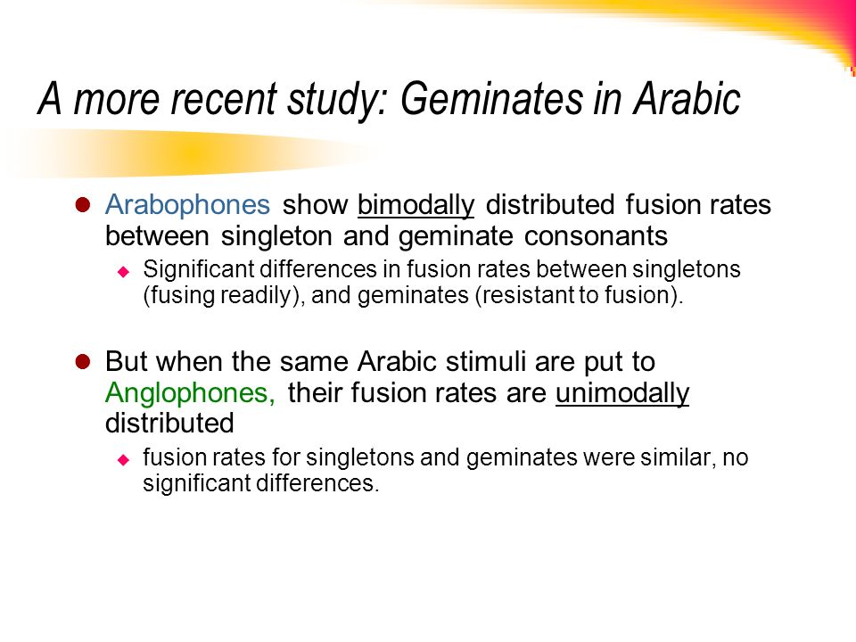 A more recent study: Geminates in Arabic