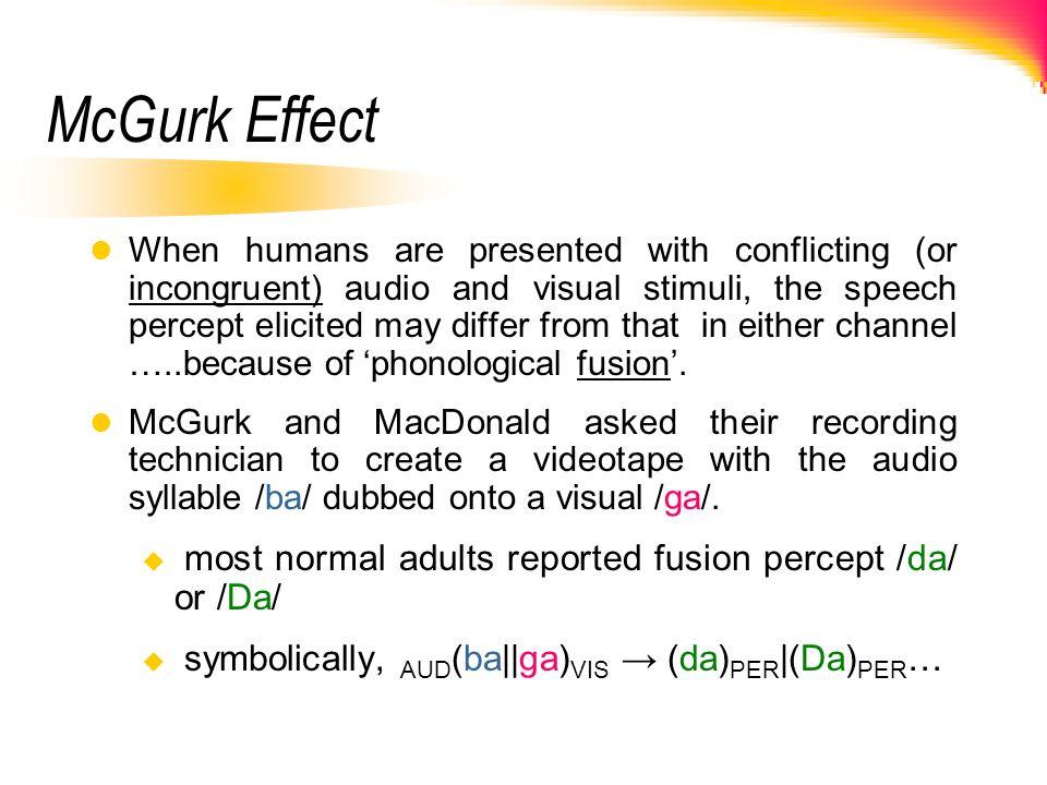 McGurk Effect most normal adults reported fusion percept /da/ or /Da/