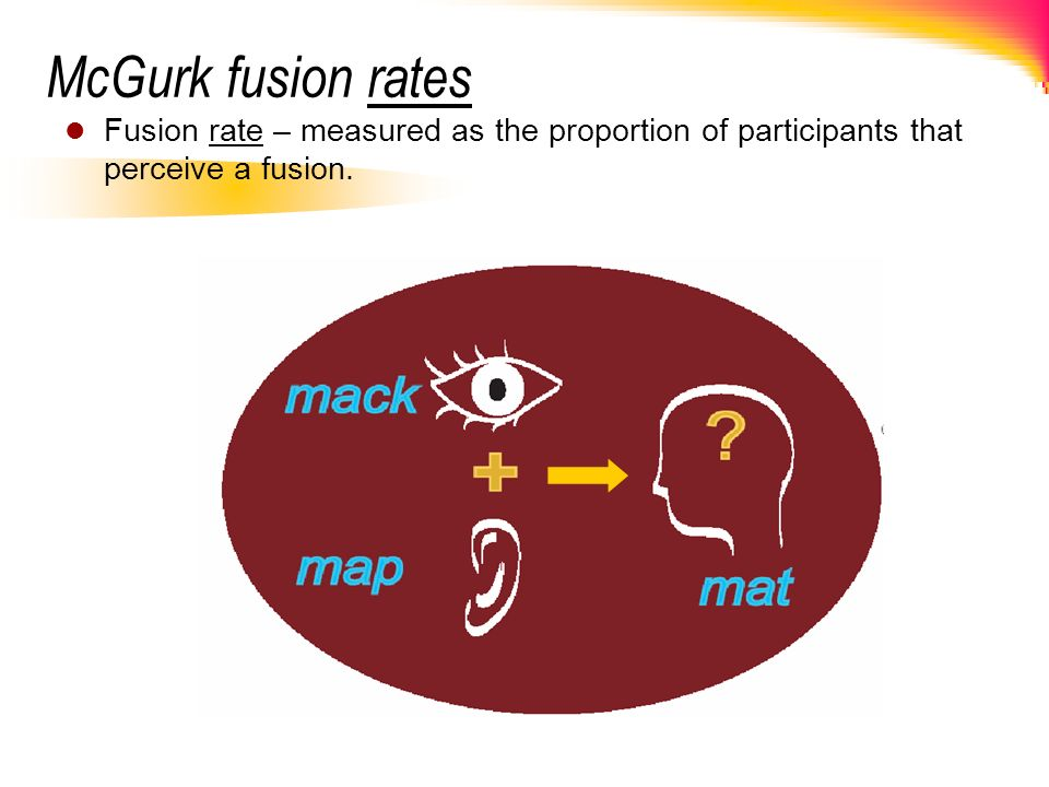 McGurk fusion rates Fusion rate – measured as the proportion of participants that perceive a fusion.