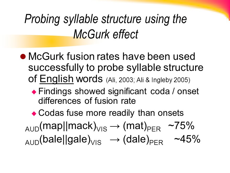 Probing syllable structure using the McGurk effect