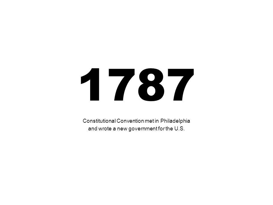 1787 Constitutional Convention met in Philadelphia