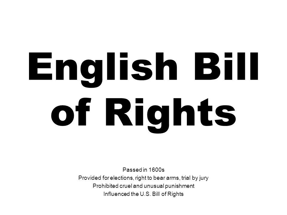 English Bill of Rights Passed in 1600s