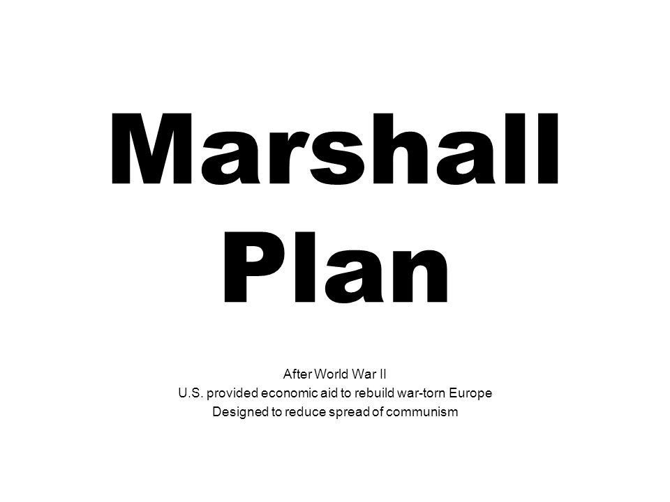 Marshall Plan After World War II