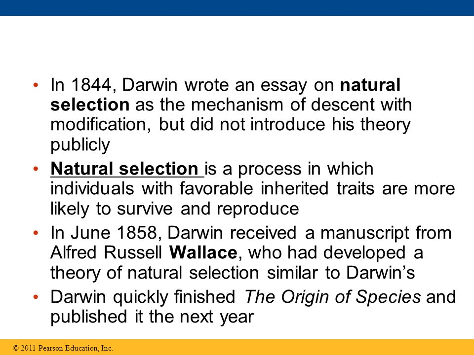 explain why humans have the following ppt video online  in 1844 darwin wrote an essay on natural selection as the mechanism of descent