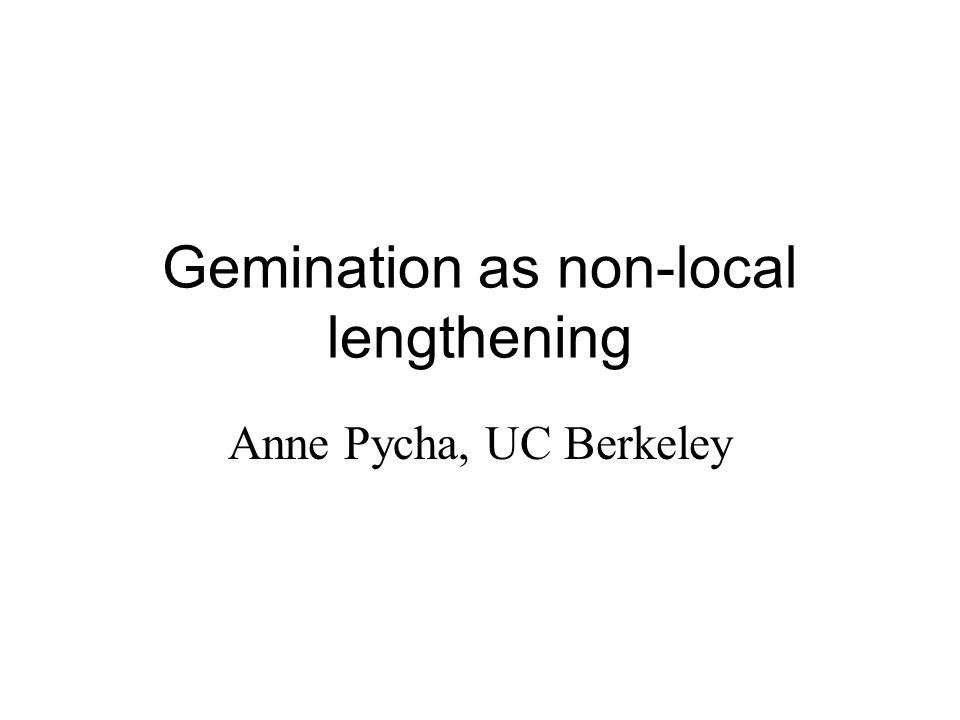 Gemination as non-local lengthening