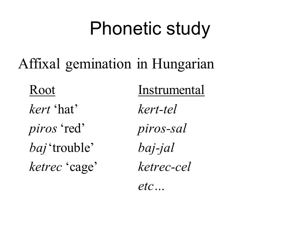 Phonetic study Affixal gemination in Hungarian Root Instrumental