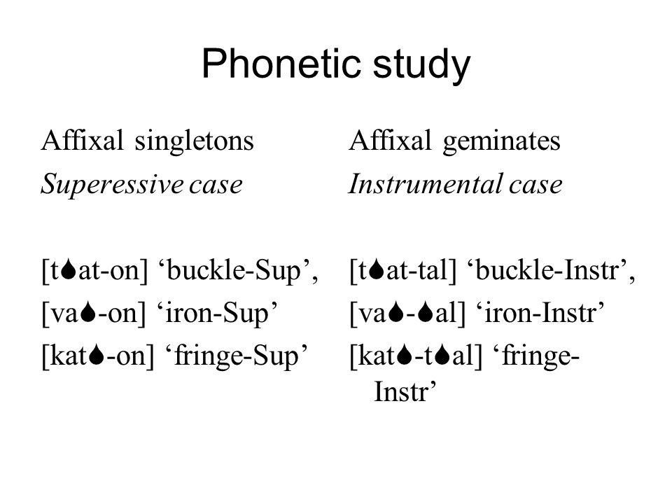 Phonetic study Affixal singletons Superessive case