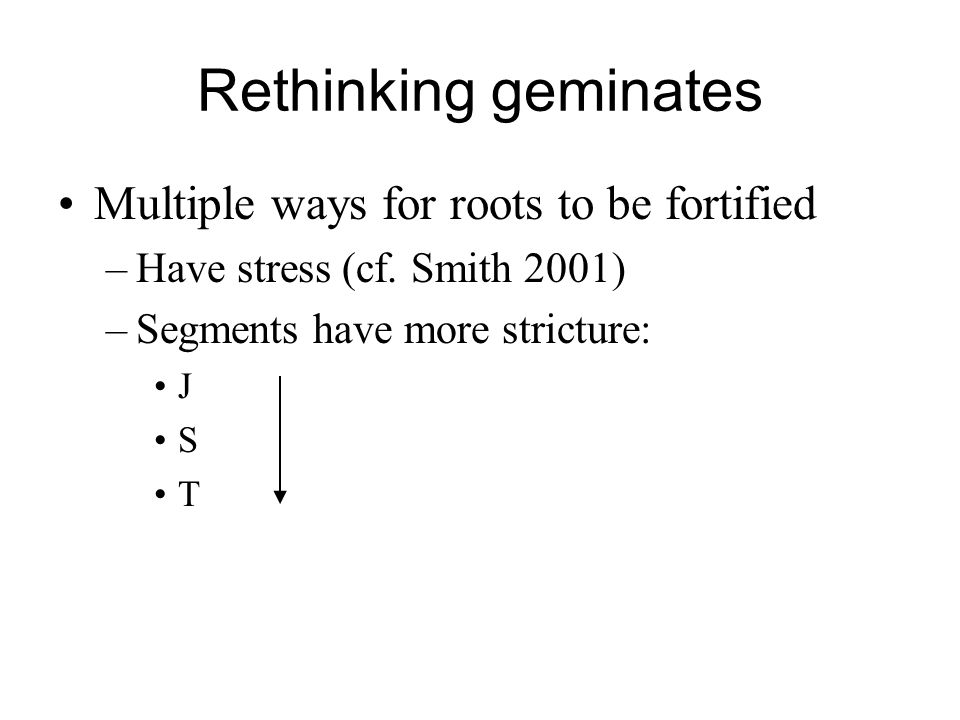 Rethinking geminates Multiple ways for roots to be fortified