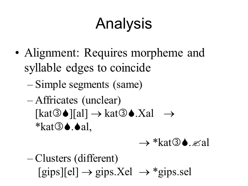 Analysis Alignment: Requires morpheme and syllable edges to coincide