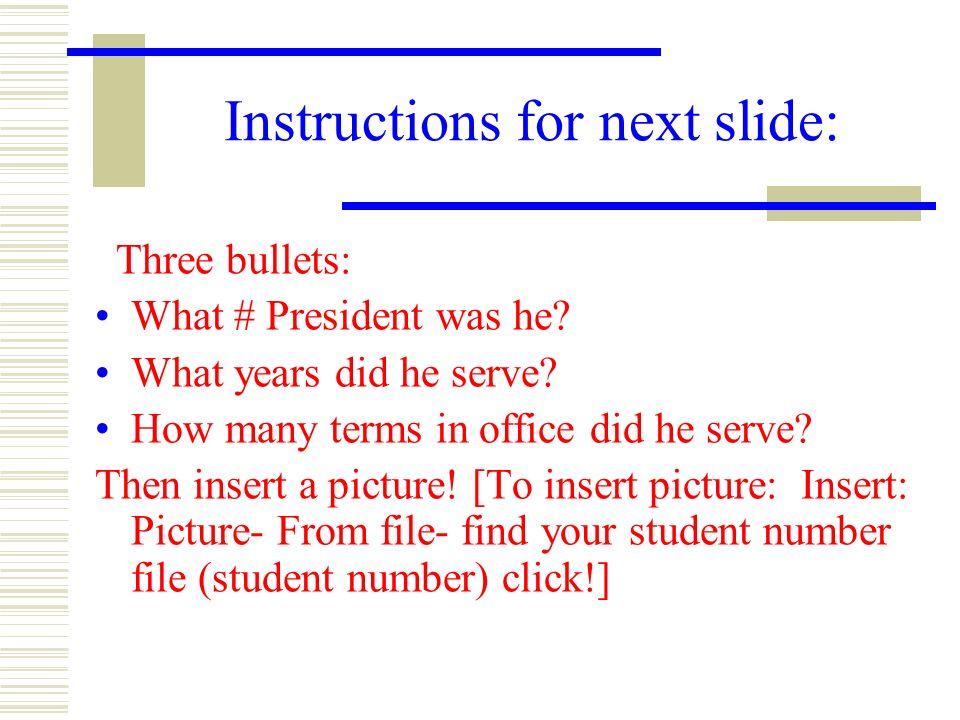 Instructions for next slide:
