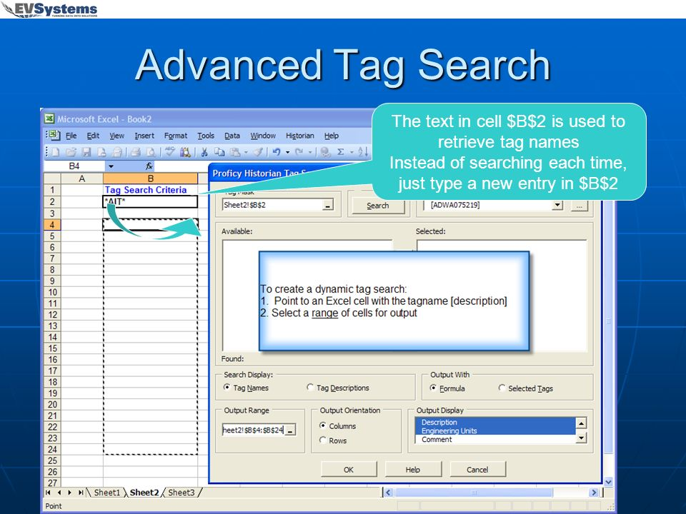 Advanced Tag Search The text in cell $B$2 is used to retrieve tag names.