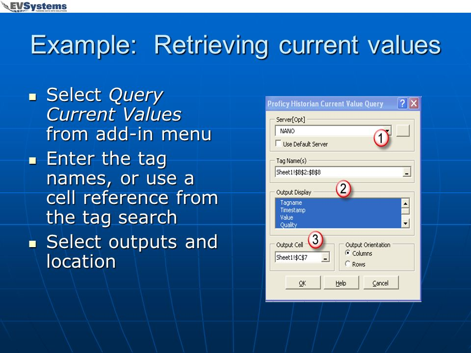 Example: Retrieving current values