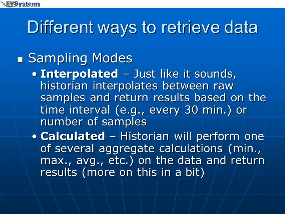 Different ways to retrieve data