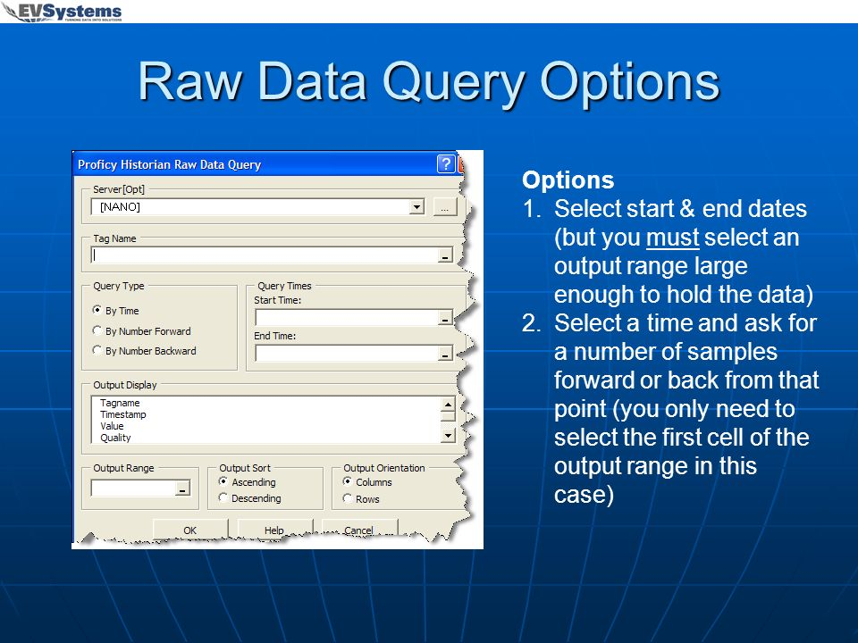 Raw Data Query Options Options