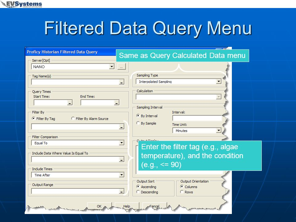 Filtered Data Query Menu