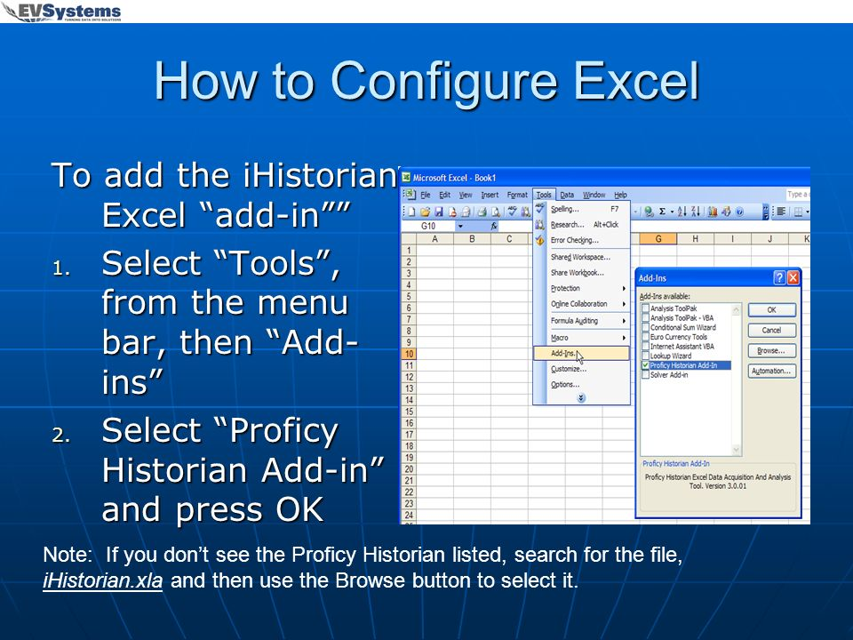 How to Configure Excel To add the iHistorian Excel add-in