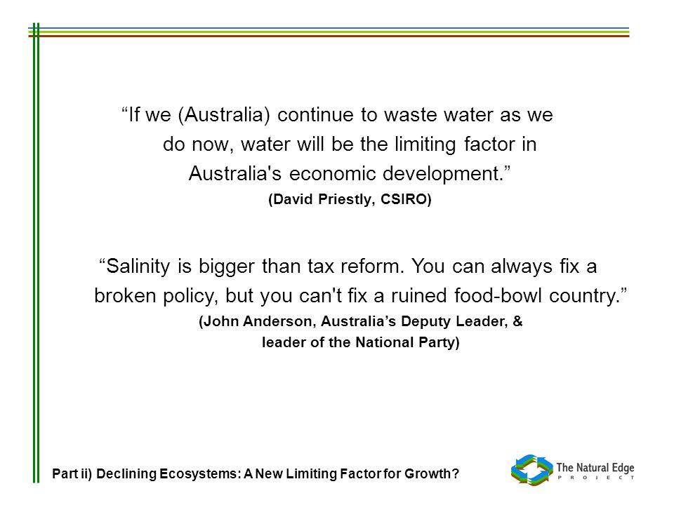 If we (Australia) continue to waste water as we do now, water will be the limiting factor in Australia s economic development. (David Priestly, CSIRO)
