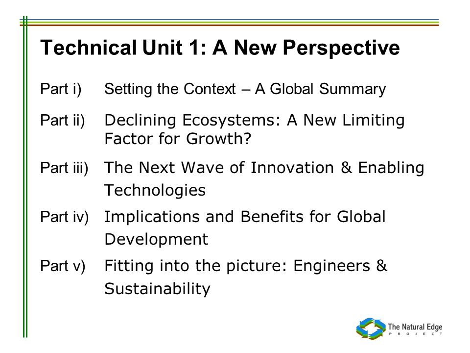 Technical Unit 1: A New Perspective