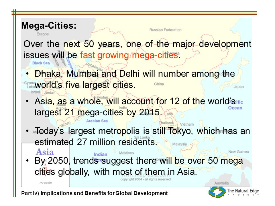 Mega-Cities:Over the next 50 years, one of the major development issues will be fast growing mega-cities.