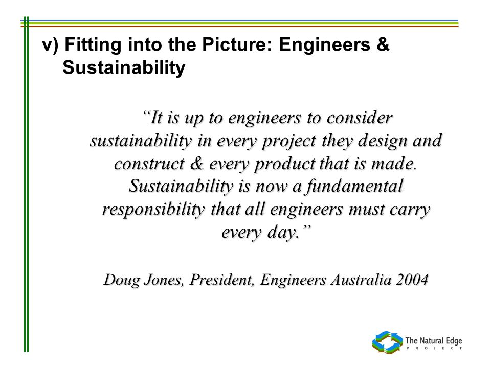 v) Fitting into the Picture: Engineers & Sustainability