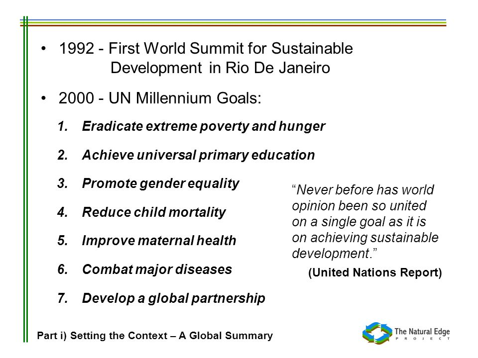 1992 - First World Summit for Sustainable
