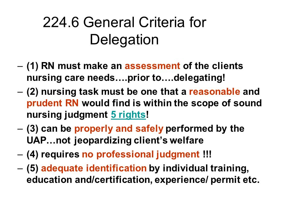 utilizing delegation in nursing Delegation concepts and decision-making process national council position paper, 1995 contents: introduction purpose premises all decisions related to delegation of nursing tasks must be based on the fundamental principle of protection of the health, safety and.