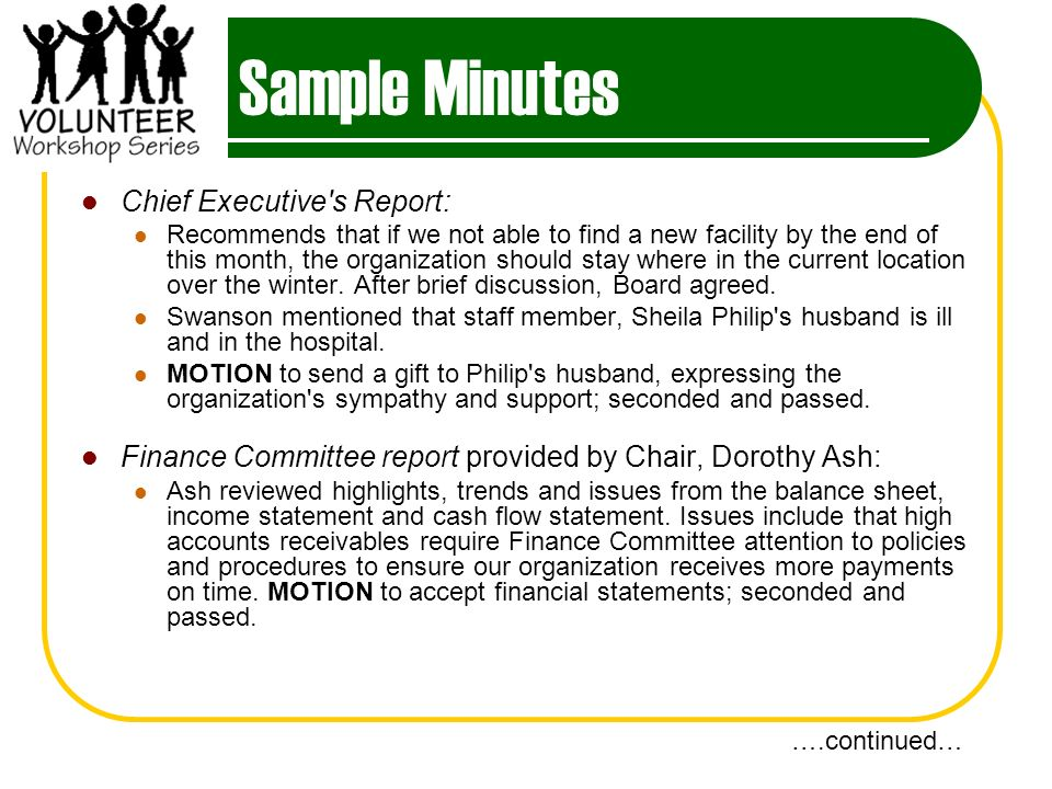 Sample Minutes Chief Executive s Report: